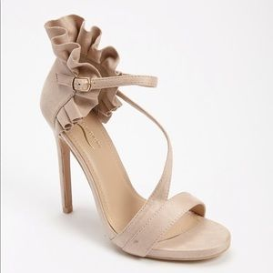 Shoes - Natural Faux Suede Ruffled Heels